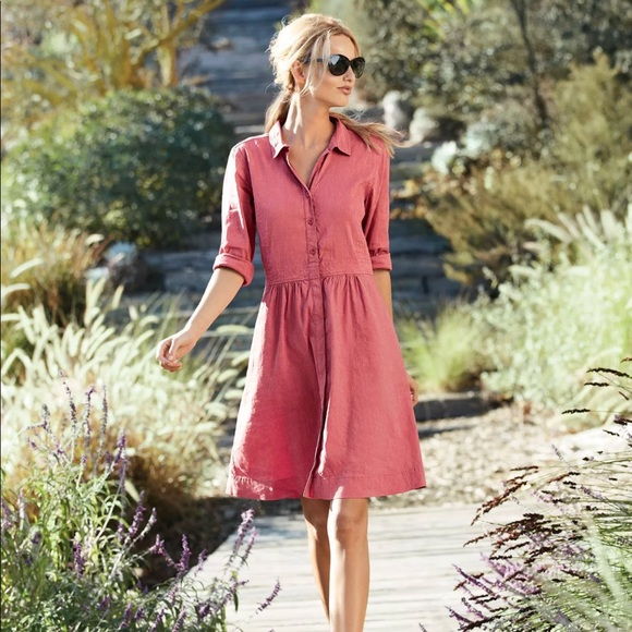 78a1a937c37 Eileen Fisher Coral Classic Collar Shirtdress